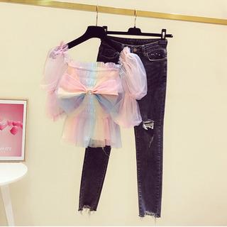 【ネット決済・配送可】韓国風、可愛い 虹色 レディース Tシャツ...