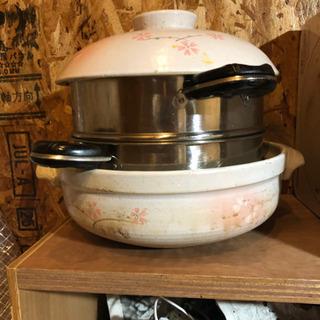 【ネット決済・配送可】土鍋と蒸し鍋