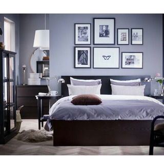 IKEA ダブルベッド フレーム、マットレスセット