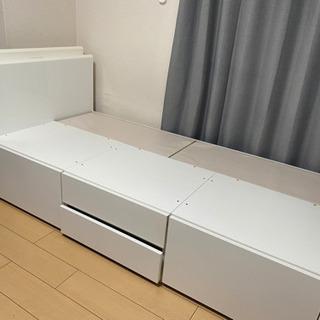 【ネット決済】シングルベッドフレーム 収納付きコンセント付き