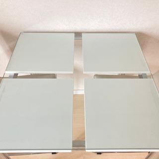 【ネット決済】ガラス製天板ダイニングテーブル