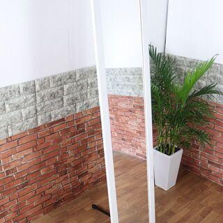 全身鏡 ホワイト/白 姿見 スタンドなし 壁掛けタイプ 全身ミラー