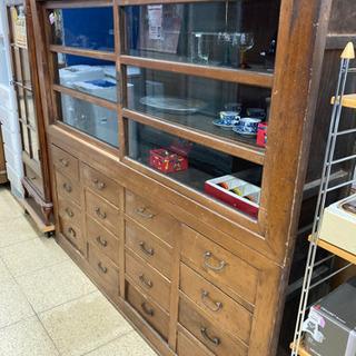 飾り棚 食器棚 アンティーク レトロ 明治大正昭和 ゆらゆらガラス