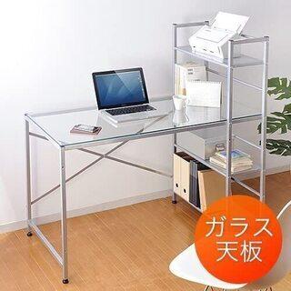 【ネット決済】交渉中 パソコンデスク 収納棚つき ガラス天板 机...