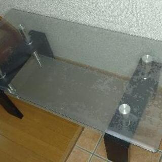 【ネット決済】強化ガラステーブル(2段式)美品