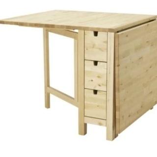 IKEA 天然無垢材伸長式収納付ダイニングテーブル