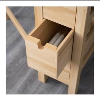 IKEA 天然無垢材伸長式収納付ダイニングテーブル - 京都市