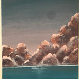 アクリル画(雲と海)
