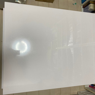 鏡面仕上げローテーブル 引き出し ホワイト 伸縮
