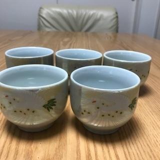 199、湯飲み茶わん 鶴のデザイン、5個セットの画像