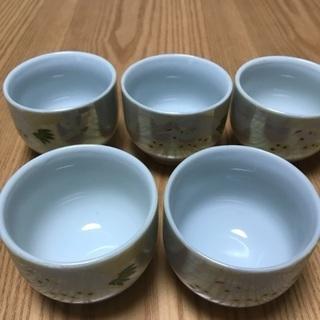 199、湯飲み茶わん 鶴のデザイン、5個セット - 岡山市