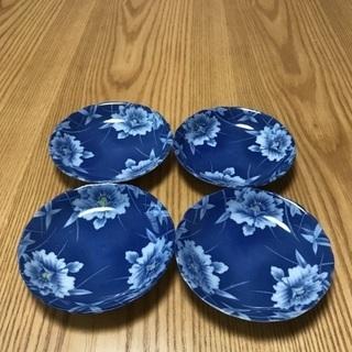 200、昭和レトロな青い小皿 4枚セット - 岡山市