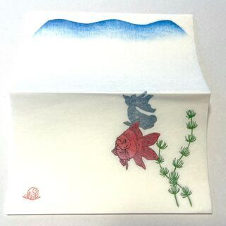 【差し上げます】雨玉舎の懐紙9枚(金魚)