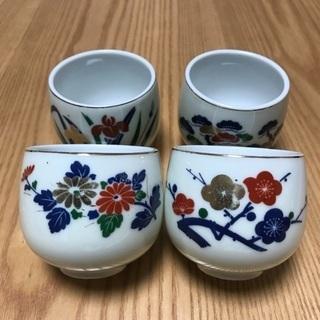 204、湯飲み茶わん(梅、松、菊、あやめ) 4個セット