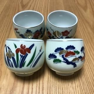 204、湯飲み茶わん(梅、松、菊、あやめ) 4個セット - 岡山市