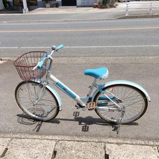 子ども用自転車✨女の子向け✨22インチ 白×水色✨鍵あり✨動作確...
