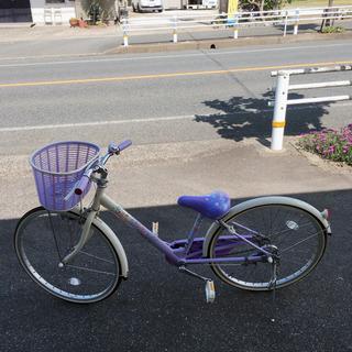女の子向け自転車✨ブリヂストン✨24インチ 紫色✨鍵あり✨動作確...