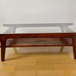 木製リビングテーブル(センターテーブル) 棚付き