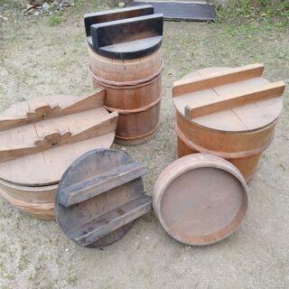 【ネット決済・配送可】中古 木の樽、桶などいろいろセット