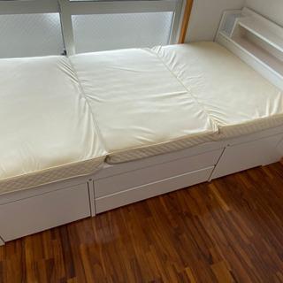 シングルベッド(白) 収納付き 【美品】