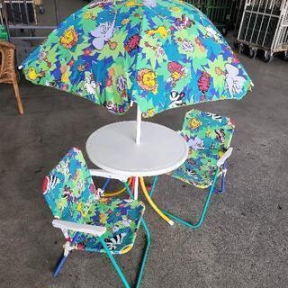 【ネット決済】0623017 子供用パラソルテーブル・椅子セット