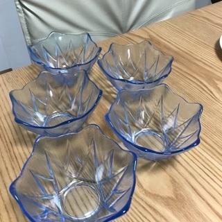 207、昭和レトロなガラス小鉢 5個セット
