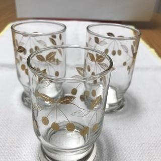213、ガラスコップ3個セット  木ノ実柄(金糸)