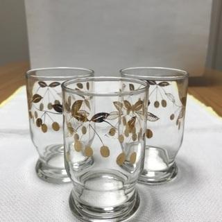 213、ガラスコップ3個セット  木ノ実柄(金糸) - 生活雑貨