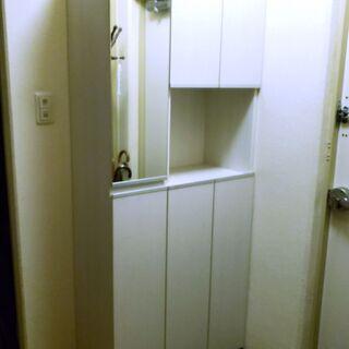 【激安】鏡付き 下駄箱 ホワイト