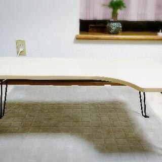 アイボリー 白木 折りたたみテーブル