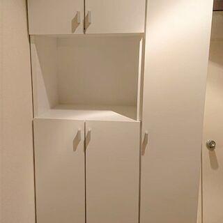 シューズボックス 白 下駄箱 美品 ハイタイプ幅75.2cm ×...