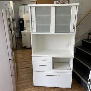 レンジボード 食器棚 キッチン収納 幅90cm ホワイト色💳自社...