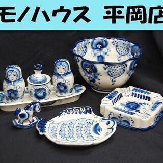 グジェリ焼 GZHEL ロシア陶器 5点まとめて 工芸品 ハンド...