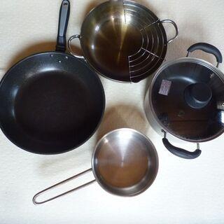 鍋(蓋付き)、片手鍋、フライパン、天ぷら鍋セット