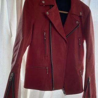 ダブルライダースジャケット 牛革 赤 Sサイズ