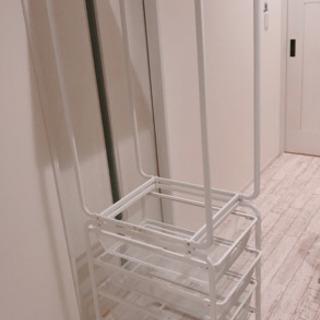 【IKEA アルゴート】★美品★天板付きハンガーラックとメ…