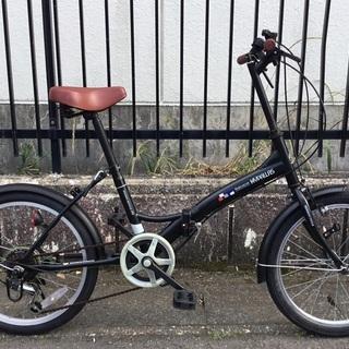 <良品>20インチ・折り畳み自転車・シマノ6段変速 ・ブラック
