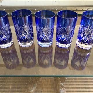 切子 クリスタルガラス ロックグラス 5個セット 青