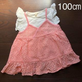 韓国子供服  フリル袖半袖Tシャツ100cm  キッズ女の子