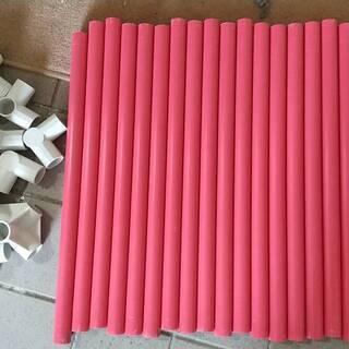 パイプ(ピンク)3㎝経50㎝長 20本 ジョイント 4穴×…