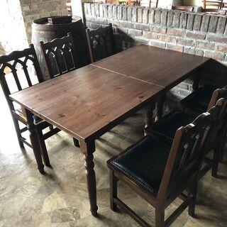 ダイニング テーブル チェア 4脚 インテリア アンティー…