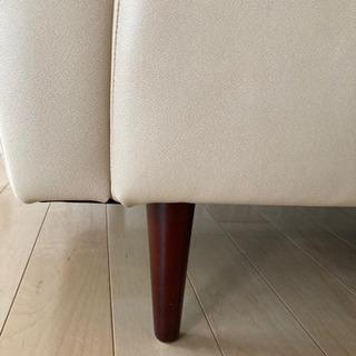 2人掛けクリーム色ソファー - 家具