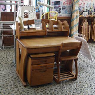 【高級家具】マルニ木工 学習机+イス+袖机+上棚+デスクライト ...