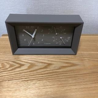 新品未使用 温湿計付き置時計 アラーム付き 目覚まし時計 ナチュ...