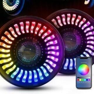 【ネット決済・配送可】7インチ 丸目LEDヘッドライト