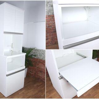 【美品】レンジボード スリム食器棚 ホワイト 幅60cm