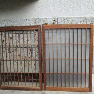 値引き! 昭和レトロ!ガラス窓戸(2枚)-9