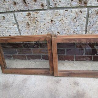 値引き! 昭和レトロ!ガラス小窓(2枚)-12
