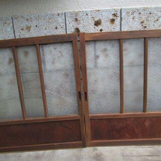 値引き! 昭和レトロ!ガラス窓戸(2枚)-14