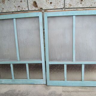 値引き! 昭和レトロ!青色ガラス窓戸(2枚)-15